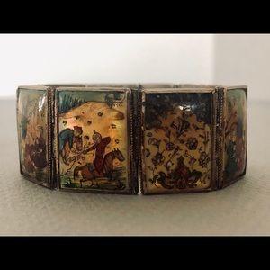 Persian mother of pearl/enamel panel bracelet
